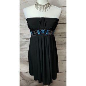 NWOT WHBM Black Strapless Blue Beaded Dress Size 0